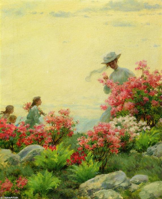 Among The Wild Azaleas by Charles Courtney Curran (1861-1942, United States) | Famous Paintings Reproductions | WahooArt.com