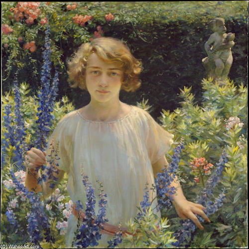Betty Newell by Charles Courtney Curran (1861-1942, United States) | Famous Paintings Reproductions | WahooArt.com
