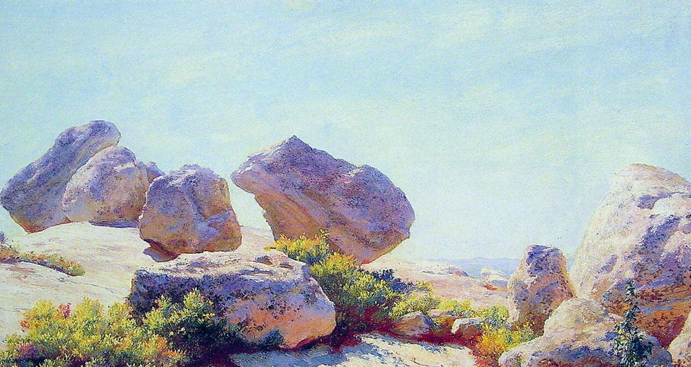 Boulders on Bear Cliff by Charles Courtney Curran (1861-1942, United States) | Famous Paintings Reproductions | WahooArt.com