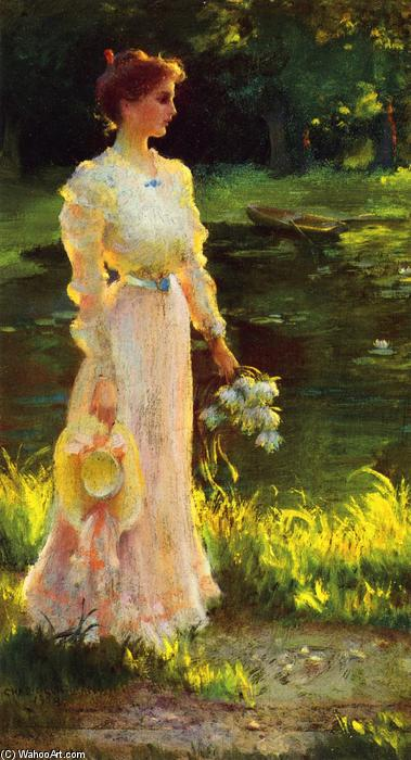 By The Lily Pond by Charles Courtney Curran (1861-1942, United States) | Art Reproduction | WahooArt.com