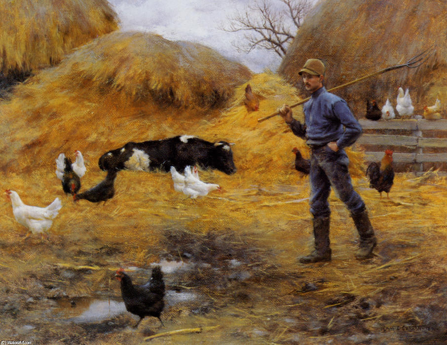 In The Barnyard by Charles Courtney Curran (1861-1942, United States) | Famous Paintings Reproductions | WahooArt.com