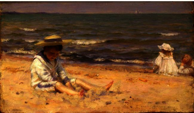 On The Beach, Lake Erie by Charles Courtney Curran (1861-1942, United States) | Oil Painting | WahooArt.com