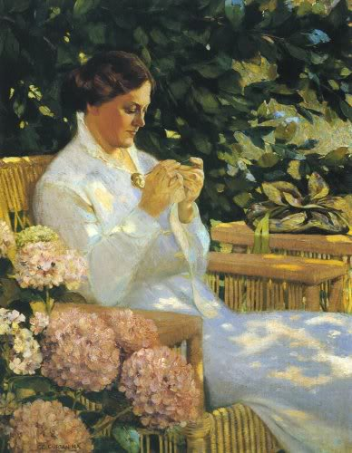Tatting Lace by Charles Courtney Curran (1861-1942, United States) | Art Reproduction | WahooArt.com