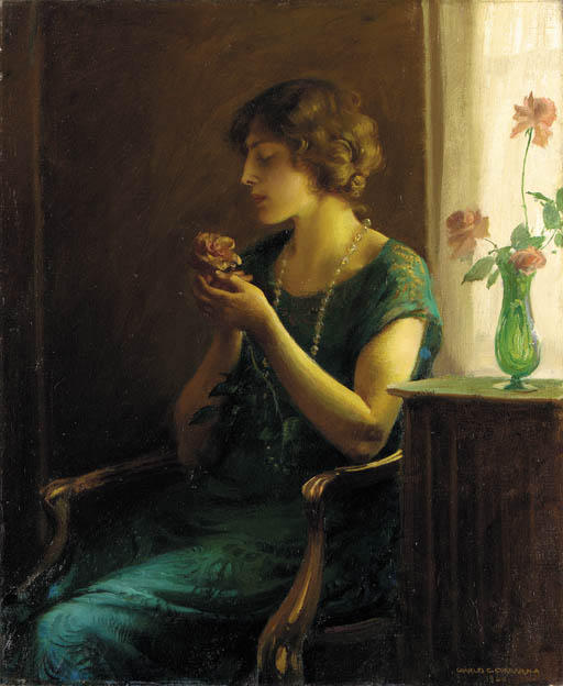 The Full Blown Rose by Charles Courtney Curran (1861-1942, United States) | Oil Painting | WahooArt.com