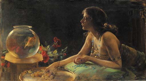 The Goldfish by Charles Courtney Curran (1861-1942, United States) | Museum Quality Reproductions | WahooArt.com