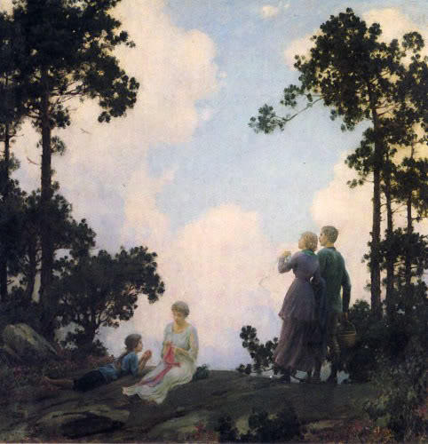 Under The Pines by Charles Courtney Curran (1861-1942, United States) | Famous Paintings Reproductions | WahooArt.com