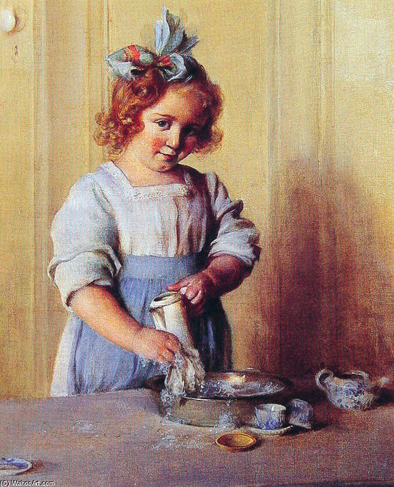 Washing Dishes. Emily and Her Tea Set by Charles Courtney Curran (1861-1942, United States) | Museum Quality Reproductions | WahooArt.com