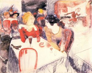 Charles Demuth - Nana, seated left, and satin at Laure-s Restaurant