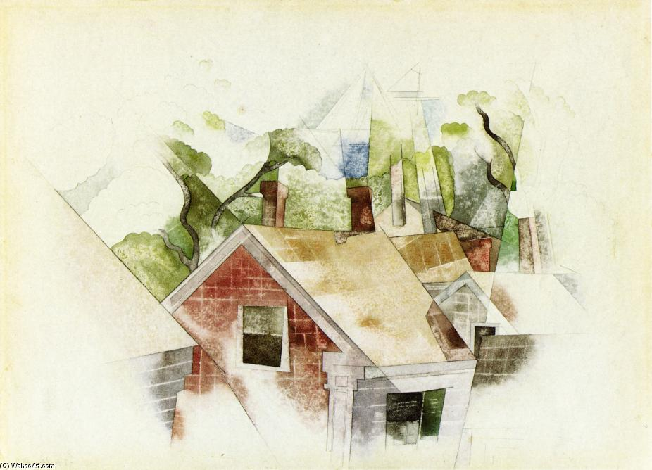 Rooftops watercolour by charles demuth 1883 1935 united for Demuths bath
