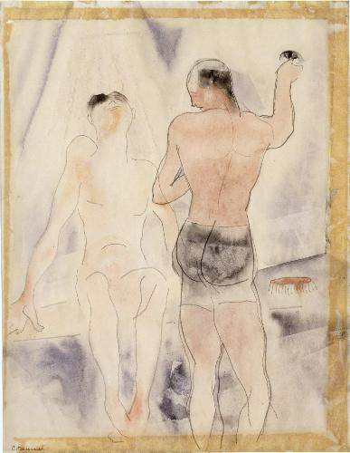 Two Figures. Turkish Bath, Watercolour by Charles Demuth (1883-1935, United States)