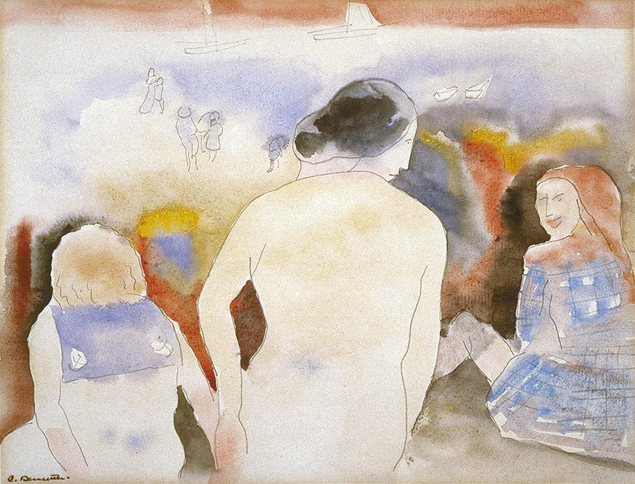Untitled (Woman with Black Hair and Two Children), Watercolour by Charles Demuth (1883-1935, United States)