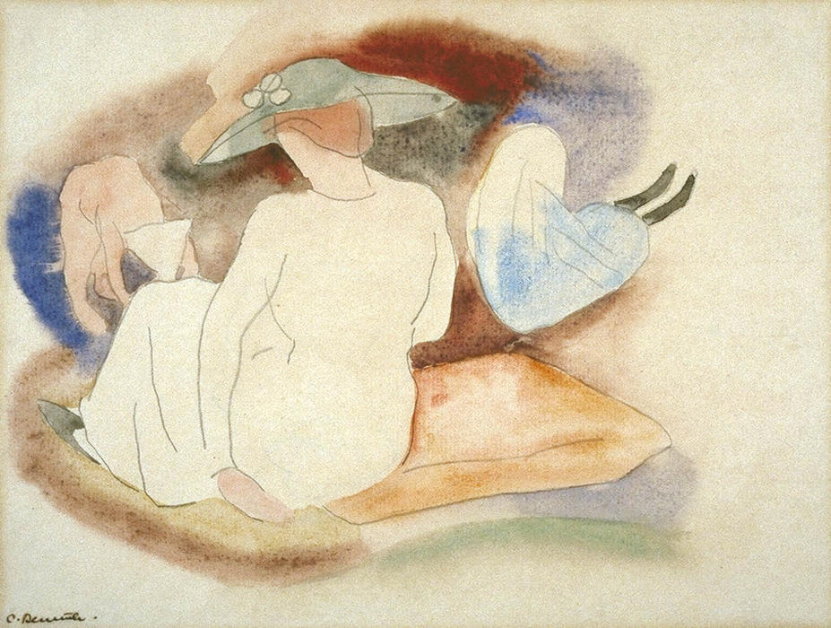 Woman with Hat and 2 Figures, Watercolour by Charles Demuth (1883-1935, United States)