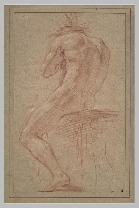 Homme Nu Assis De Dos By Charles Le Brun 1619 1690 France
