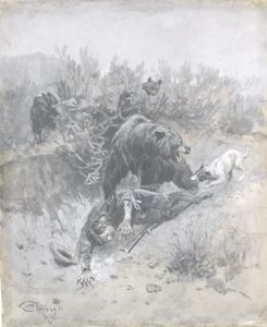 Charles Marion Russell - He Tripped And Fell Into A Den on a Mother Bear and Her Cubs