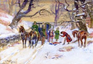 Charles Marion Russell - Holdup on the Boston Road