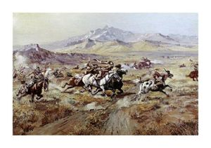 Charles Marion Russell - Stagecoach Attack