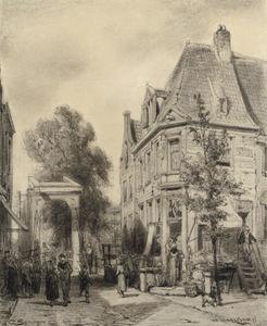 Cornelis Springer - A busy street in Weesp