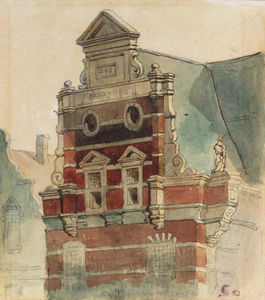 Cornelis Springer - A Study of the Top of the West Facade of the Town Hall, The Hague