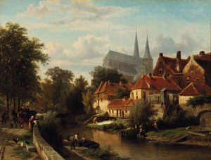 Cornelis Springer - A summer's day in Deventer with figures on the town-wall, the Bergkerk towering in the distance