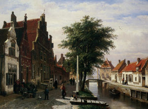 Cornelis Springer - Along the Canal