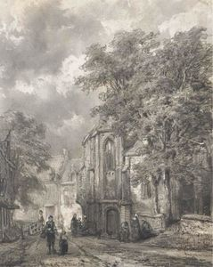Cornelis Springer - Asperen. a town view with figures by a church