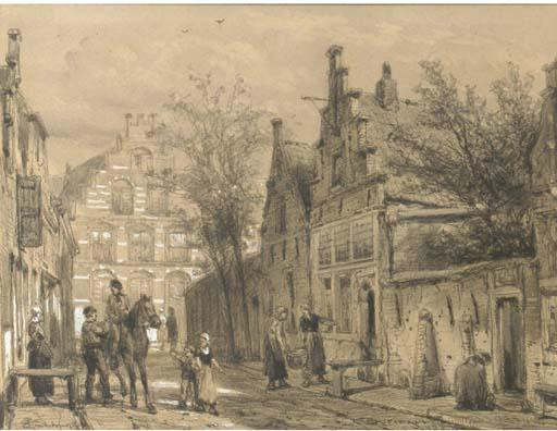 Enkhuizen. a streetscene in the Dutch town of Enkhuizen, Drawing by Cornelis Springer (1817-1891)