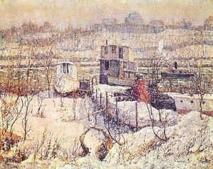 Ernest Lawson - Boathouse, Winter, Harlem River