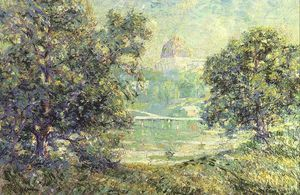 Ernest Lawson - Central Park and Temple Beth El