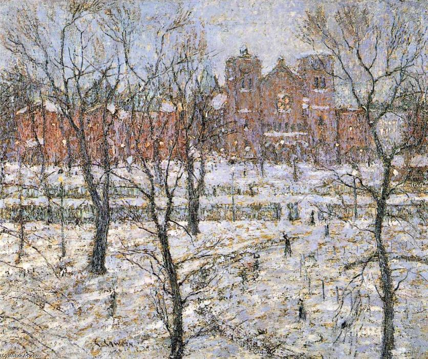 Stuyvesant Square in Winter, Oil On Canvas by Ernest Lawson (1873-1939, Canada)