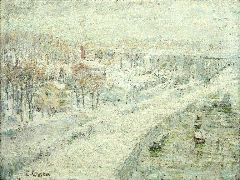 Winter Landscape. Washington Bridge by Ernest Lawson (1873-1939, Canada) | Museum Quality Copies Ernest Lawson | WahooArt.com