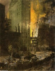 Everett Shinn - Fire on 24th Street, New York City