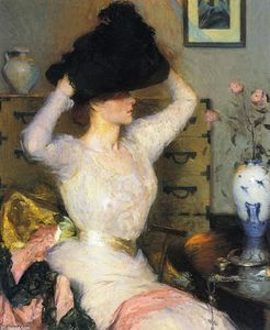 Frank Weston Benson - Lady Trying on a Hat (aka The Black Hat)