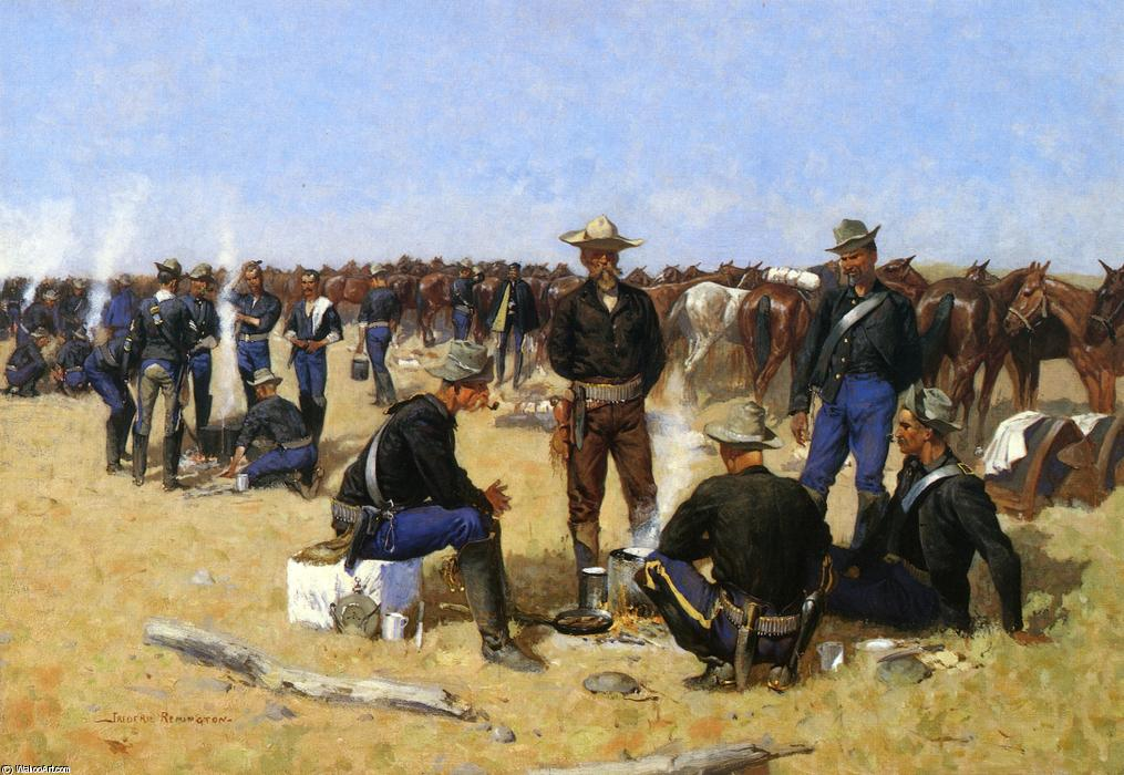 A Cavalryman's Breakfast on the Plains, Oil On Canvas by Frederic Remington (1861-1909, United States)