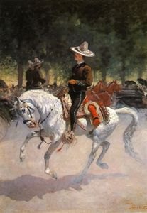 Frederic Remington - A Dandy on the Paseo de la Reforma, Mexico City