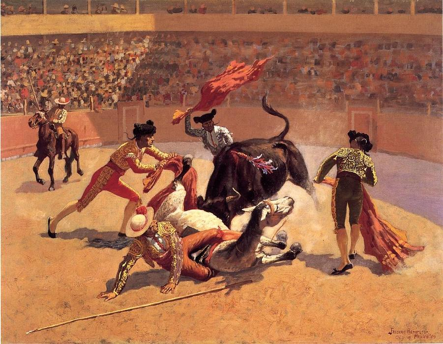 Bull Fight in Mexico, Oil by Frederic Remington (1861-1909, United States)