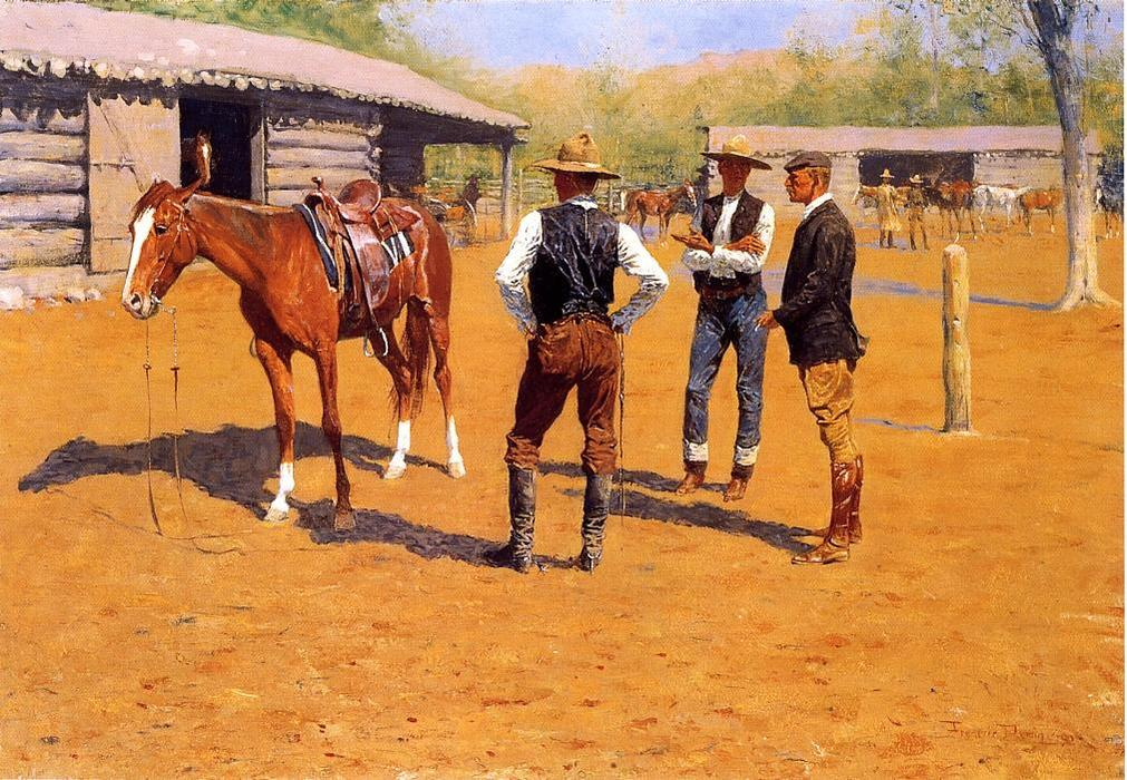 Buying Polo Ponies in the West, Oil by Frederic Remington (1861-1909, United States)