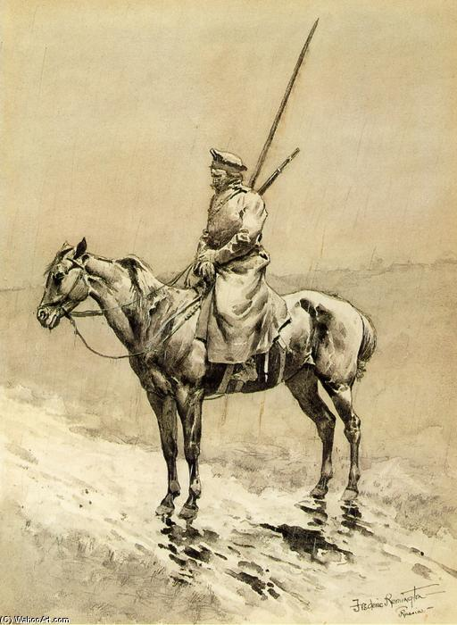 Cossack Picket on the German Frontier, Watercolour by Frederic Remington (1861-1909, United States)