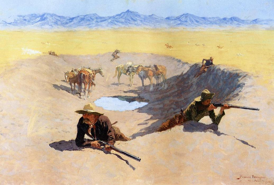 Fight for the Water Hole, Oil On Canvas by Frederic Remington (1861-1909, United States)