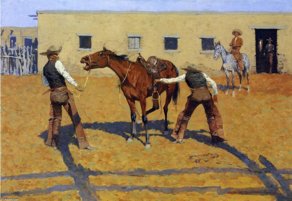 His First Lesson, Oil On Canvas by Frederic Remington (1861-1909, United States)