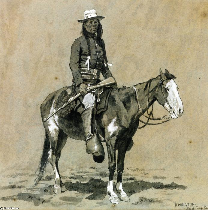 Indian Scout at Fort Reno, Watercolour by Frederic Remington (1861-1909, United States)