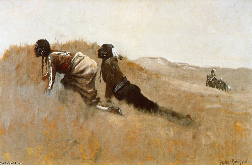 Indian Scouts Watching Custer's Advance, Oil On Canvas by Frederic Remington (1861-1909, United States)
