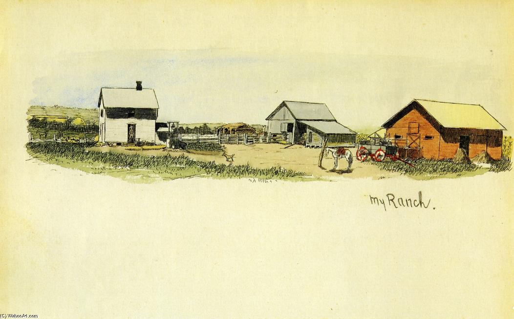 My Ranch, Watercolour by Frederic Remington (1861-1909, United States)