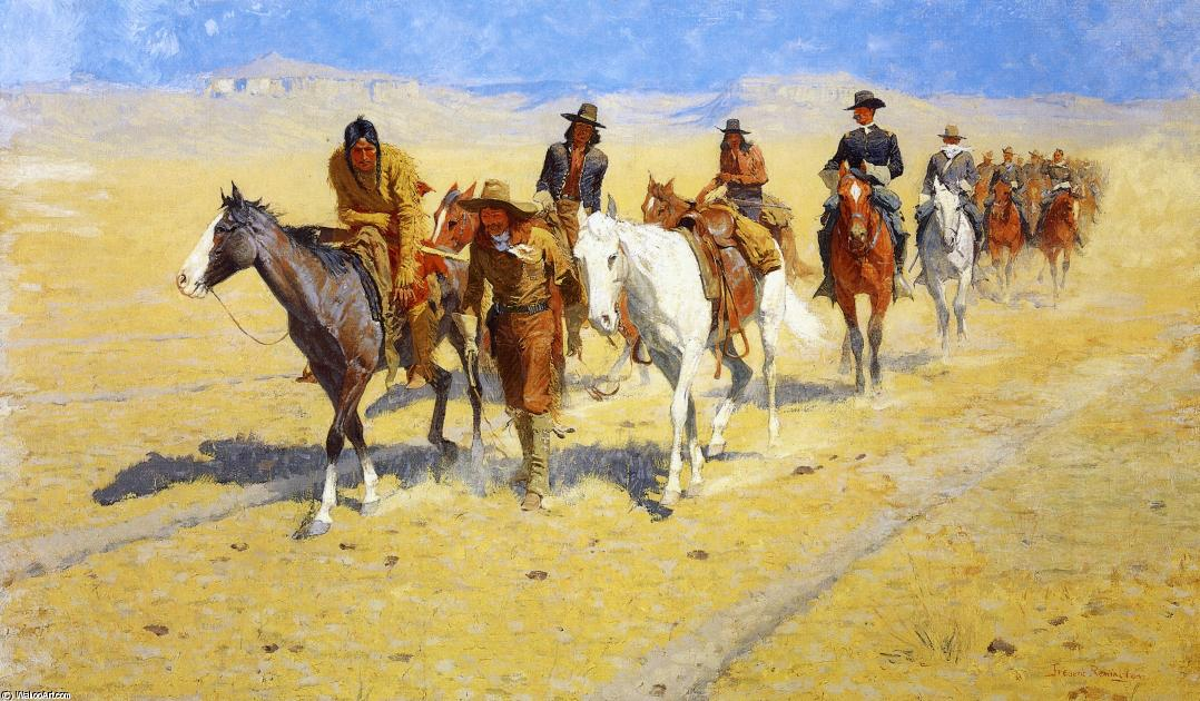 Pony Tracks in the Buffalo Trails, 1904 by Frederic Remington (1861-1909, United States) | Museum Quality Reproductions | WahooArt.com