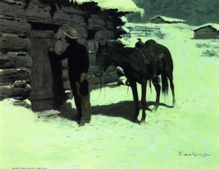 The Belated Traveler, Oil by Frederic Remington (1861-1909, United States)