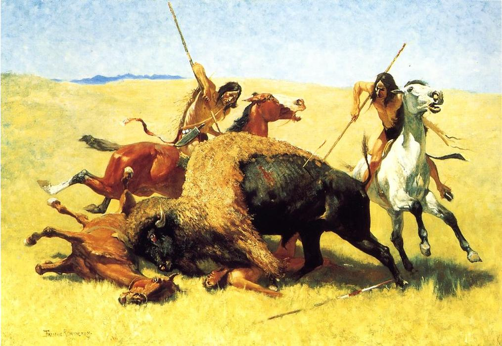 The Buffalo Hunt, Oil by Frederic Remington (1861-1909, United States)