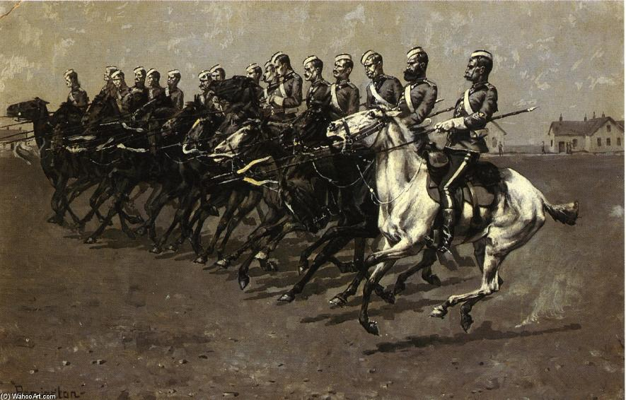The Canadian Mounted Police on a 'Musical Ride', Watercolour by Frederic Remington (1861-1909, United States)