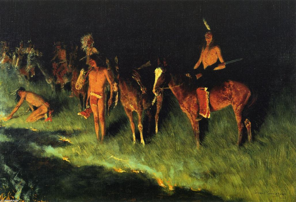 The Grass Fire, Oil On Canvas by Frederic Remington (1861-1909, United States)