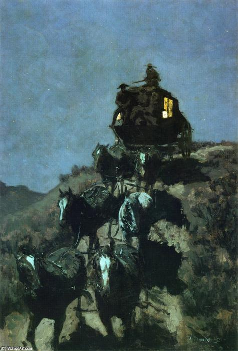 The Old Stage Coach of the Plains, Oil On Canvas by Frederic Remington (1861-1909, United States)