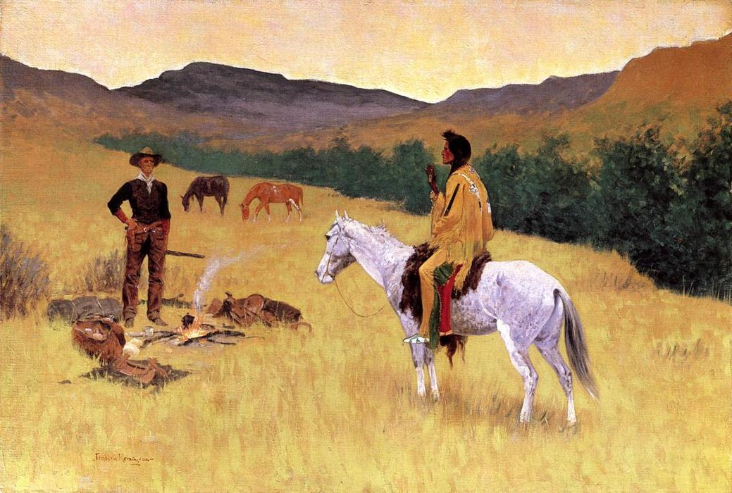 The Parley, Oil On Canvas by Frederic Remington (1861-1909, United States)
