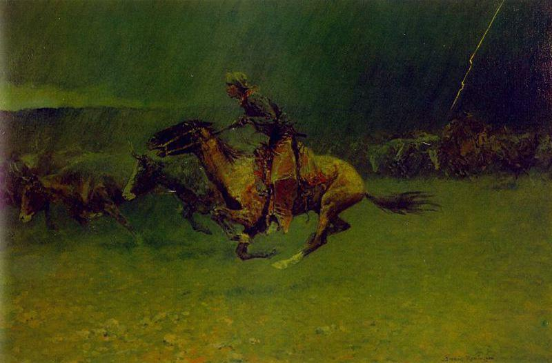 The Stampede, Oil by Frederic Remington (1861-1909, United States)